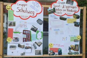 Die Ergebnisse der 3. und 4. Klassen beim Stadtteilfest ausgestellt...